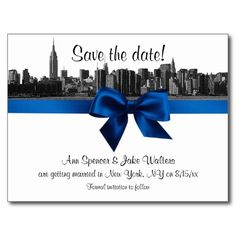 NYC Wide Skyline Etched BW Royal Save the Date Post Cards