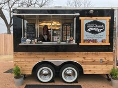 Head for the Hills - Fredericksburg Mini-Donut Co Company Fredericksburg TX Real Estate Food Cart Design, Food Truck Design, Foodtrucks Ideas, Coffee Food Truck, Mobile Coffee Shop, T3 Vw, Coffee Trailer, Mobile Cafe, Cafe Shop Design