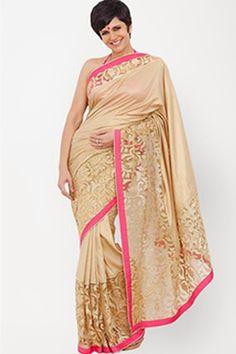 Stunning Cream Color Designer #Ethnic #Saree