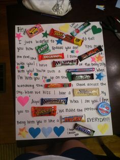 Valentines Candy Poster Gifts for Boyfriend - Castle Random Candy Poster Board, Candy Bar Posters, Candy Board, Candy Bar Cards, Candy Letters, Saint Valentin Diy, Boyfriend Birthday Quotes, Valentines Bricolage, Candy Grams