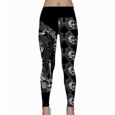 "Yoga Leggings Womens Black and White  - ""Catrina "" Sugar Skull festival hippie burner funky Fall and Winter Leggings Day Of The Dead Woman by Pajamasquid on Etsy"