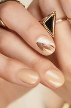 Feather mani | See more at http://www.nailsss.com/...  | See more nail designs at http://www.nailsss.com/nail-styles-2014/