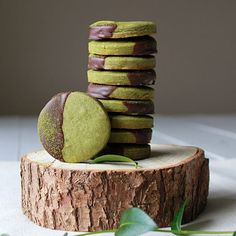 Chocolate dipped matcha shortbread cookies Recipe on Food52 recipe on Food52