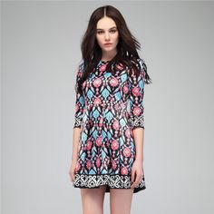 2014 Spring new arrival  girls printing design  dress transparent  three quarter sleeve satin mid waist  Free shipping $89.00