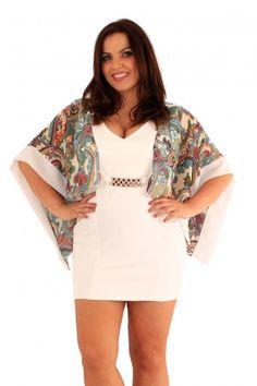 Romi Curvy Paisley Print V Neck Bodycon Kimono Drape Dress via Frocksville. Click on the image to see more!