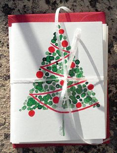 watercolor cards would translate well to Christmas trees made with green frit, red beads, and stringer! by regina Beautiful Christmas Cards, Christmas Cards To Make, Christmas Art, Holiday Cards, Watercolor Christmas Cards, Watercolor Cards, Theme Noel, Diy Cards, Homemade Cards