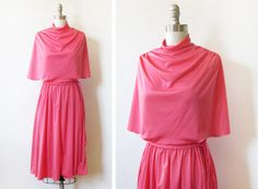vintage 1970s coral pink dress / 70s pink disco by RustBeltThreads