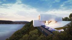 Les architectes suisses Daluz/Gonzalez ont pensé cette maison face au lac. Cette maison sur trois étages et de style minimaliste est de forme bien particulière.  #architecture #lac #contemporaryhouse