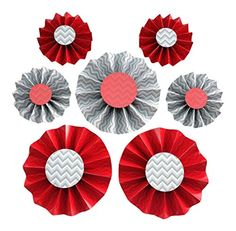 Red And Grey, Gray, Red Party, Rosettes, Party Supplies, Decorations, Amazon, Color, Amazon Warriors