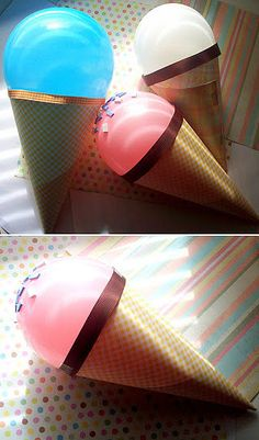 Ice Cream Cone Balloons: Turn balloons into cute ice cream cone decorations for a special occasion! Source: The Craft in Me