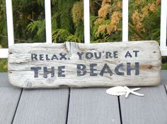 Driftwood sign RELAX. You're at the BEACH 17.5x6 by crabbychris