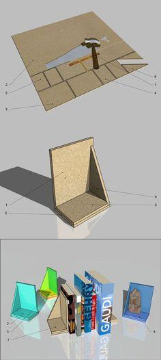 Podpórka do książek, płyta MFP, zrób to sam/ bookend, MFP board, DIY, #MFP Bookends, Diy, Board, Bricolage, Do It Yourself, Homemade, Diys, Planks, Crafting