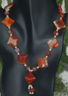 Red Fire Agate and River Stone Necklace