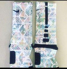 """Tribal Print"" Custom Nike Elite/art Socks by Sock Insanity. #storenvy #sockinsanity **Sock sizing is based on shoe size. Small is for youth 3-5, and ladies 4-6. Medium is for youth 5-7, mens 6-8, and ladies 6-10. Large is for ladies 10-13, and mens 8-12. X-Large is for mens 12-15. Volleyball Socks, Nike Basketball Socks, Basketball Shorts Girls, Basketball Games For Kids, Baseball Socks, Basketball Stuff, Sports Socks, Nike Elite Socks, Nike Socks"