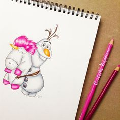 """""So fluffy unicorn!"" I drew these two unicorns together... Hope this makes you smile"""