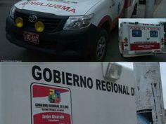 San Vicente de Cañete: Ambulancia proselitista con el nombre del presidente regional de Lima