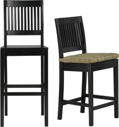 Aspen Black Barstools and Awning Stripe Cushion in Barstools   Crate and Barrel