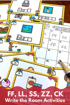 Are you looking for a fun activity to practice double consonant ending words? This engaging Write the Room activity comes with 2 complete sets of task cards to allow you to differentiate for your students. It includes final consonants LL, FF, SS, ZZ, and CK. Students will travel around the room writing the missing final consonants. Several recording sheets are included to allow for further differentiation. Grab this fun phonics activity today! {first grade, 1st grade, second grade, 2nd… First Grade, Second Grade, Fun Phonics Activities, Recording Sheets, Cool Writing, Differentiation, Task Cards, Finals, Students