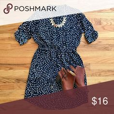 """MOSSIMO geo print shirt dress Gorgeous NWOT MOSSIMO black and white print shirt dress with brass buttons and flattering elastic drawstring waist. Never worn! I took off the tags but decided I needed a larger size. This dress is so pretty with booties or sandals! Measures about 36"""" long. Mossimo Supply Co. Dresses"""