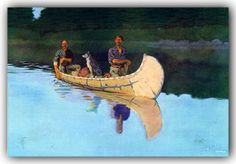 Frederic Remington, Two Men and a Dog in A Canoe Wood Canoe, Frederic Remington, Kayaking, Canoeing, Hunting Art, Canoe And Kayak, Birch Bark, Le Far West, Outdoor Signs