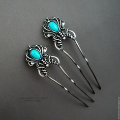 Купить серебряные шпильки парные Павлины - серебряный, бирюзовый, шпилька, шпильки для волос, заколка