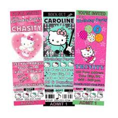 hello kitty birthday party ticket invitations