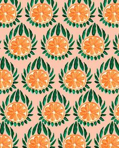 Citrus and Leaves III - Bouffants and broken hearts. Fruit Illustration, Pattern Illustration, Surface Pattern Design, Pattern Art, Textures Patterns, Fabric Patterns, Geometric Patterns, Motif Floral, Pretty Patterns