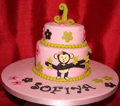 Cheeky Monkey Girls 1st Birthday Cake by NattyCakes1, via Flickr