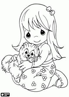 La muchacha está abrazando a su mascota, un gracioso gatito para colorear página