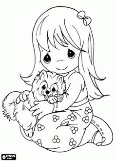 Girl is hugging her pet, a funny kitten coloring page