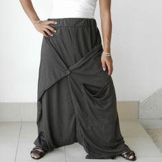 SALE Gaucho Ninja Charcoal Grey Skirt Pant Comfortable ,  Cotton Jersey. $35,00, via Etsy.