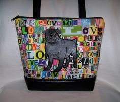 A personal favorite from my Etsy shop https://www.etsy.com/listing/505159367/black-pug-purse-in-love-fabric-handbag