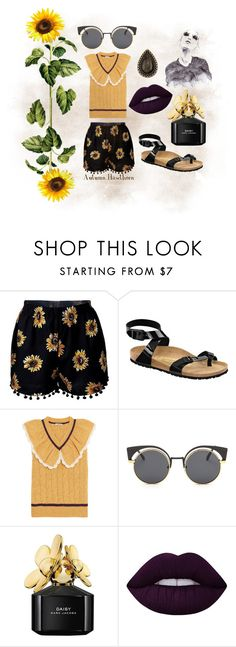 """""""September Sunflowers - Ugly Shoes Contest"""" by autumnhawthorn on Polyvore featuring Birkenstock, Miu Miu, Marc Jacobs, Lime Crime and GE"""