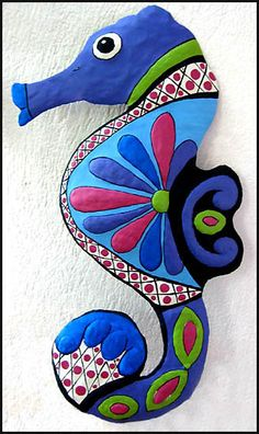 Garden Collection Tropical Seahorse Wall Art - Blue & Magenta Beach Decor | Nautical Decor | Tropical Decor | Coastal Decor