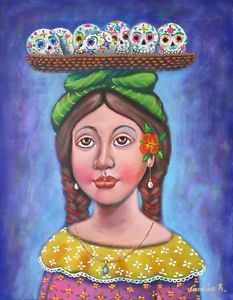 $299.99 German Rubio Mexican Art Painting day of the dead #germanrubio #mexicanart #dayofthedead #rosaritoartfest #losnaguales.com