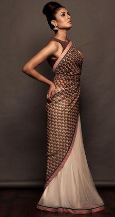 SVA Printed offwhite and pink sari