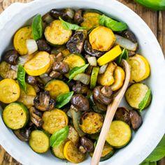 Жареный цукини и грибы;  легко и вкусный способ гриль овощи!  natashaskitchen