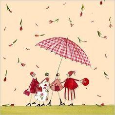 Ladies under an umbrella of artist Silke Leffler Art And Illustration, Pattern Illustration, Illustrations Posters, Red Umbrella, Under My Umbrella, Flower Shower, Naive Art, Marquis, Whimsical Art