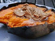 Süßkartoffeln aus der Glut mit Ahornsirup - Zimt - Butter