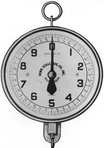"""Penn Scale 820 VGD 20 Pound 8 inch Hanging Scale with Vegetable Scoop Glass and Double Dial by Penn Scale. $158.70. CAPACITY 20 Pounds - 2 Revolutions. DIAL 10 pound + 1 oz.- 8"""" diameter. The scoop and chain are rust-proof; the scoop is strongly constructed of galvanized steel measuring. 10 Pounds on face. DESIGN Meets requirements of the Bureau of Weights and Measures.. This scale is modern both in construction and appearance. It is designed to withstand hard usag..."""