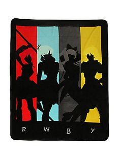 "Soft, warm and cuddly throw from Rooster Teeth's anime-influenced animated web series <i>RWBY</i> featuring silhouettes of the titular group of first year Beacon Academy students, <b>R</b>uby Rose, <b>W</b>eiss Schnee, <b>B</b>lake Belladonna and <b>Y</b>ang Xiao Long... you know, <b>RWBY</b>.<br><ul><li style=""list-style-position: inside !important; list-style-type: disc !important"">48"" x 60""</li><li style=""list-style-position: inside !important; list-style-type: disc !important"">100%…"