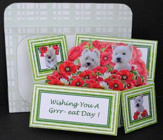 West Highland Terriers & Poppies  3D Pop-Up Box Card Kit With