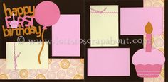 Baby Girl First Birthday Scrapbook Page Kit - Click Image to Close
