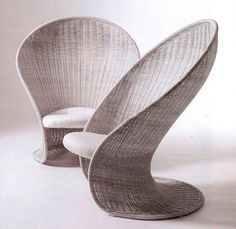 What lovely feminine rattan chairs. They would sit beautifully in a garden room surrounded by beautiful plants. AN Contemporary armchair / rattan / cantilever FOGLIA by Giovanni Travasa Bonacina Vittorio