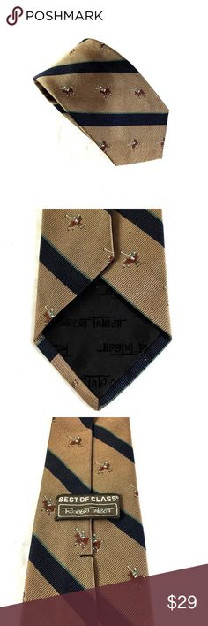 "Robert Talbott Best Of Class Tie 100% Silk Necktie Hand sewn by Robert Talbott for G.B. HarbeSon Best Of Class - Men's Silk Neck Tie   Colors: Brown, navy Pattern: Polo horse riding man Material: 100% silk  Length: 57"" (From Tip to Tip) Width: 3.25"" (at Widest Point)  GREAT condition! Robert Talbott Accessories Ties"