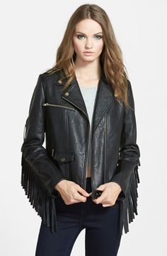 MISSGUIDED Fringe Faux Leather Biker Jacket available at #Nordstrom