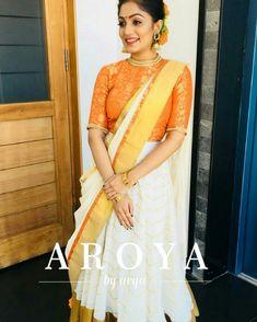 Whatsapp on 9496803123 to customise handwork n cutwork Kerala Engagement Dress, Engagement Dress For Bride, Engagement Outfits, Lehanga Saree, Half Saree Lehenga, Kasavu Saree, Anarkali, Sarees, Lengha Blouse Designs