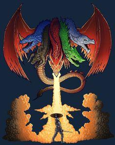 Dungeons and Dragons Tiamat T-Shirt Design, Justin Sadur on ArtStation at https://www.artstation.com/artwork/dLx1K