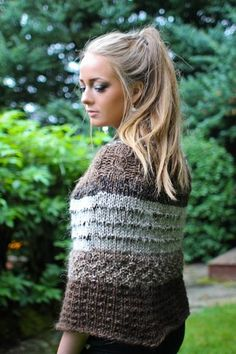 knitted wool poncho shawl from iceland