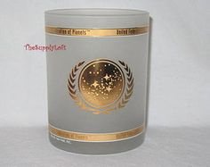 Vintage Star Trek Federation of Planets Glass Cup Collectible Gift from TheSupplyLoft1